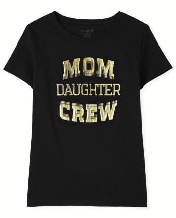 Womens Matching Family Mom Crew Graphic Tee