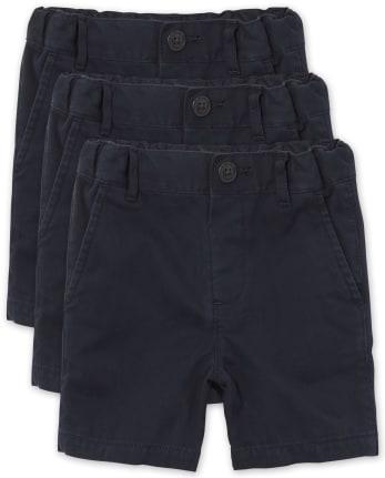 Paquete de 3 pantalones cortos tipo chino de uniforme para bebés y niños pequeños
