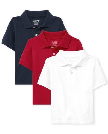 Paquete de 3 polos de piqué de uniforme para bebés y niños pequeños