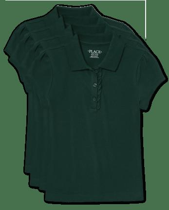 Girls Uniform Ruffle Pique Polo 4-Pack