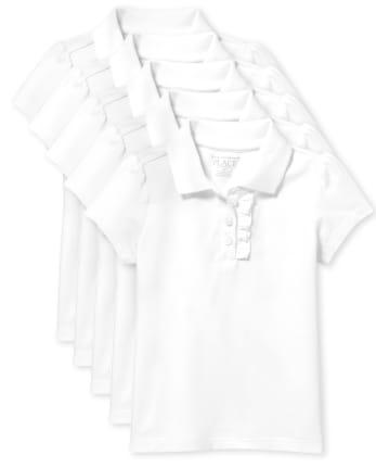Toddler Girls Uniform Ruffle Pique Polo 5-Pack