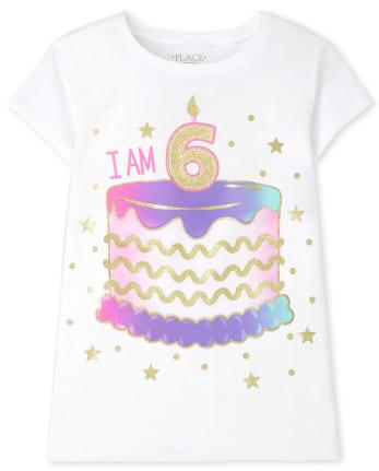 Girls I Am 6 Birthday Graphic Tee