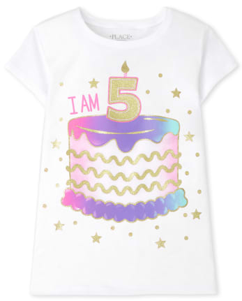 Girls I Am 5 Birthday Graphic Tee