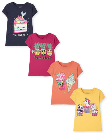Girls Food Graphic Tee 4-Pack