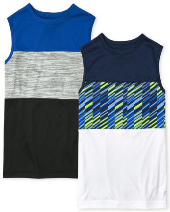 Boys Colorblock Performance Muscle Tank Top 2-Pack