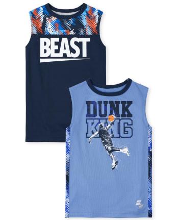 Pack de 2 camisetas sin mangas deportivas de rendimiento deportivo para niños
