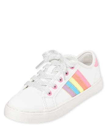 Girls Glitter Rainbow Low Top Sneakers