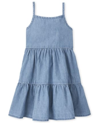 Baby And Toddler Girls Denim Tiered Dress