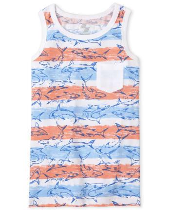 Boys Mix And Match Sleeveless Shark Striped Pocket Tank Top