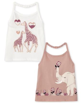 Toddler Girls Animal Halter Top 2-Pack