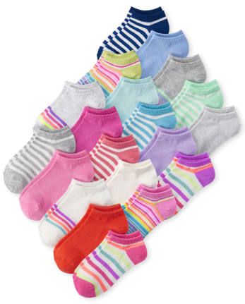 Girls Striped Ankle Socks 20-Pack