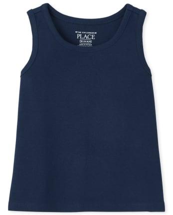Camiseta sin mangas básica uniforme para bebés y niñas pequeñas