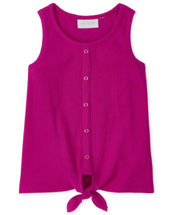 Girls Ribbed Button Tie Front Tank Top