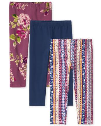 Pack de 3 leggings capri estampados para niñas