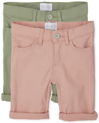 Girls Roll Cuff Twill Skimmer Shorts 2-Pack