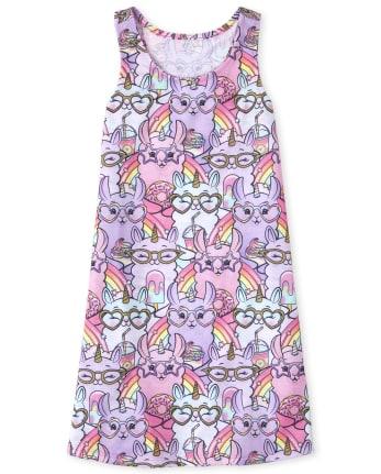 Girls Llamacorn Rainbow Nightgown