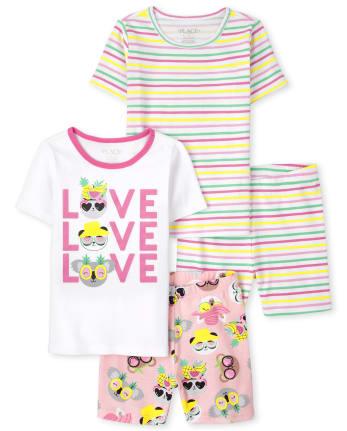 Girls Love Striped Snug Fit Cotton Pajamas 2-Pack