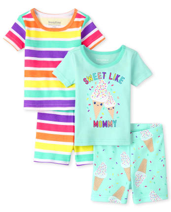 Baby And Toddler Girls Ice Cream Striped Snug Fit Cotton Pajamas 2-Pack