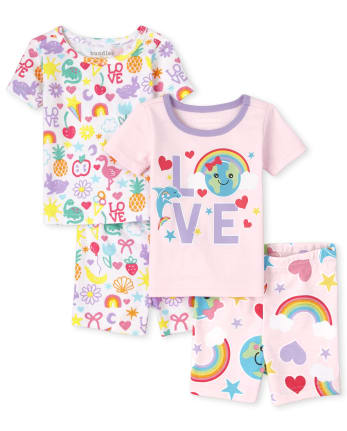 Baby And Toddler Girls Love Earth Snug Fit Cotton Pajamas 2-Pack