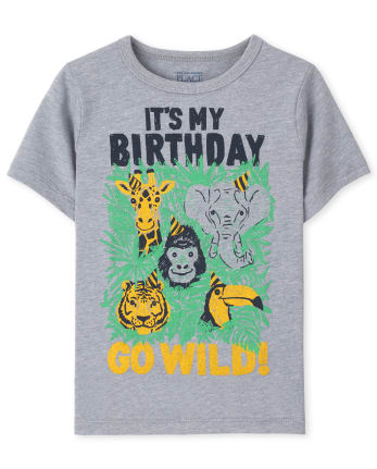 Baby And Toddler Boys Animal Birthday Graphic Tee