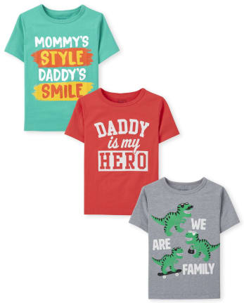 Toddler Boys Family Graphic Tee 3-Pack