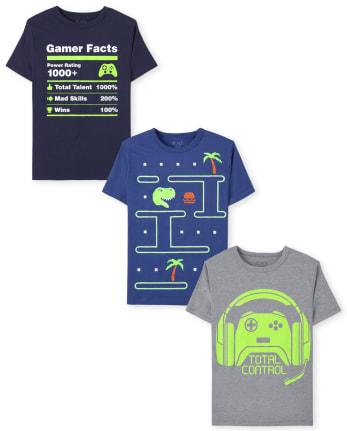 Pack de 3 camisetas con gráficos de videojuegos para niños