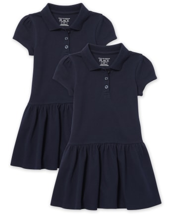 Toddler Girls Uniform Ruffle Pique Polo Dress 2-Pack