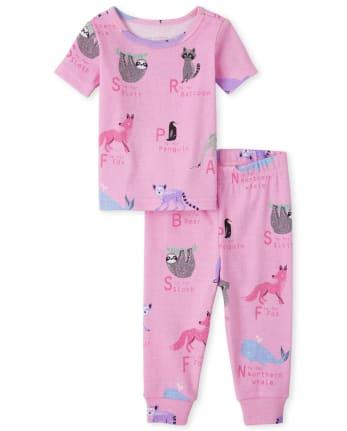 Baby And Toddler Girls Animal ABC Snug Fit Cotton Pajamas