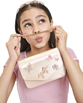 Girls Iridescent Jeweled Bag
