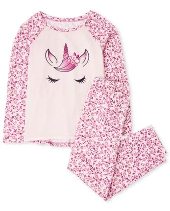 Girls Floral Unicorn Pajamas