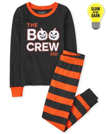 Unisex Kids Glow Boo Crew Snug Fit Cotton Pajamas