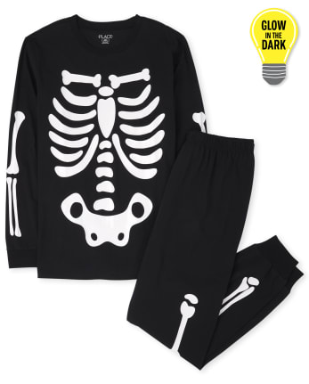 Unisex Adult Matching Family Glow Skeleton Cotton Pajamas