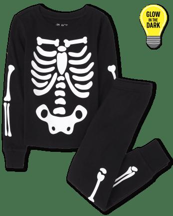 Unisex Kids Matching Family Glow Skeleton Snug Fit Cotton One Piece Pajamas