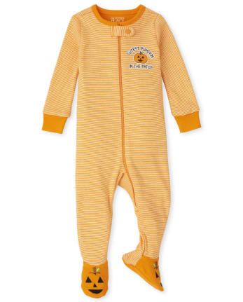 Unisex Baby And Toddler Pumpkin Striped Snug Fit Cotton One Piece Pajamas