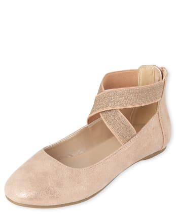 Girls Shimmer Wrap Ballet Flats
