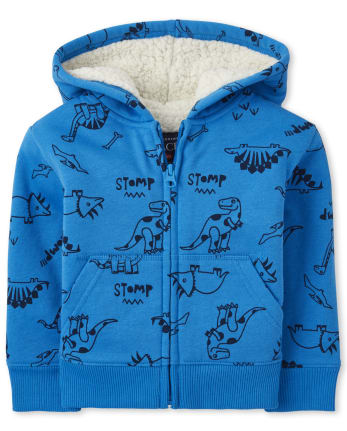 Baby And Toddler Boys Dino Sherpa Zip Up Hoodie