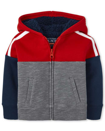 Baby And Toddler Boys Colorblock Sherpa Zip Up Hoodie