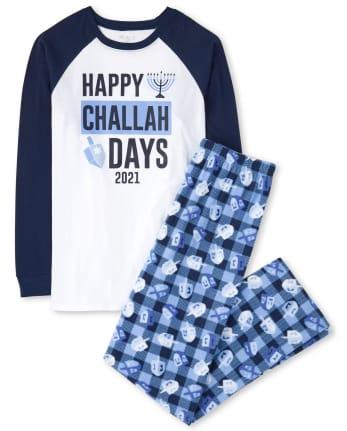 Unisex Adult Matching Family Challah Days Cotton And Fleece Pajamas