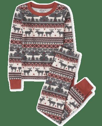 Unisex Kids Matching Family Thermal Reindeer Fairisle Snug Fit Cotton Pajamas