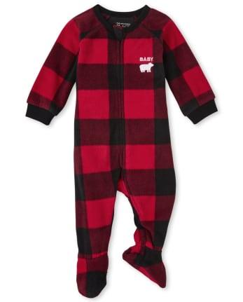 Unisex Baby And Toddler Matching Family Bear Buffalo Plaid Fleece One Piece Pajamas