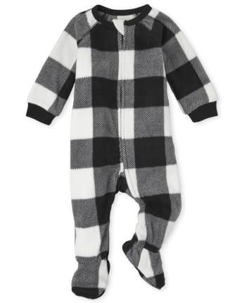 Unisex Baby And Toddler Matching Family Buffalo Plaid Fleece One Piece Pajamas