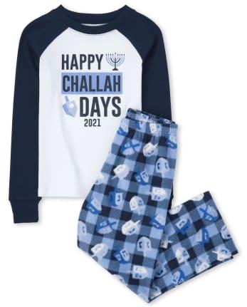 Unisex Kids Matching Family Challah Days Snug Fit Cotton And Fleece Pajamas