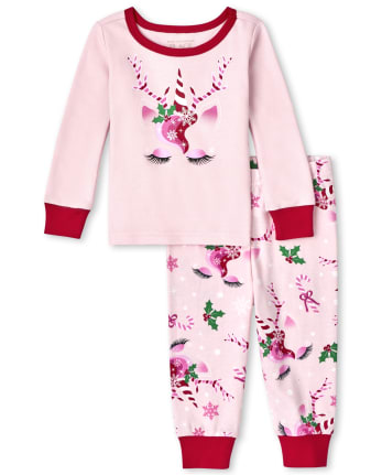 Baby And Toddler Girls Mommy And Me Christmas Unicorn Snug Fit Cotton Pajamas