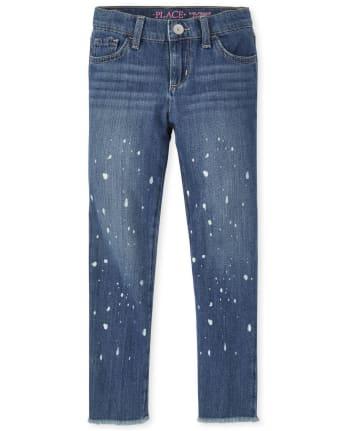 Girls Paint Splatter Girlfriend Jeans