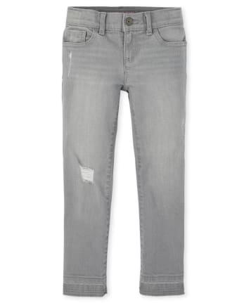 Girls Let Down Hem Distressed Denim Super Skinny Jeans
