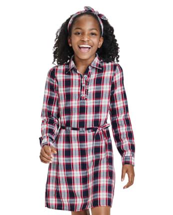 Girls Matching Family Plaid Shirt Dress