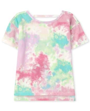 Girls Tie Dye Cut Out High Low Top