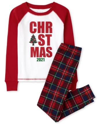 Unisex Kids Matching Family Christmas Tartan Snug Fit Cotton Pajamas