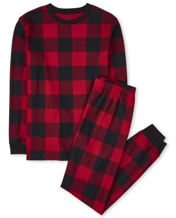 Unisex Adult Matching Family Thermal Buffalo Plaid Cotton Pajamas