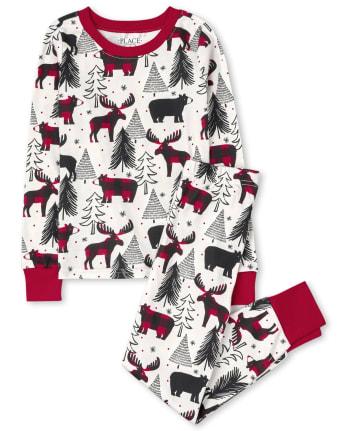 Unisex Kids Matching Family Winter Bear Snug Fit Cotton Pajamas